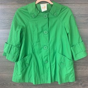 TULLE | Anthro Green Rain Jacket Trench Coat